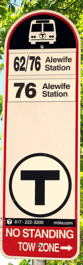 Sign for MBTA Bus 62/76