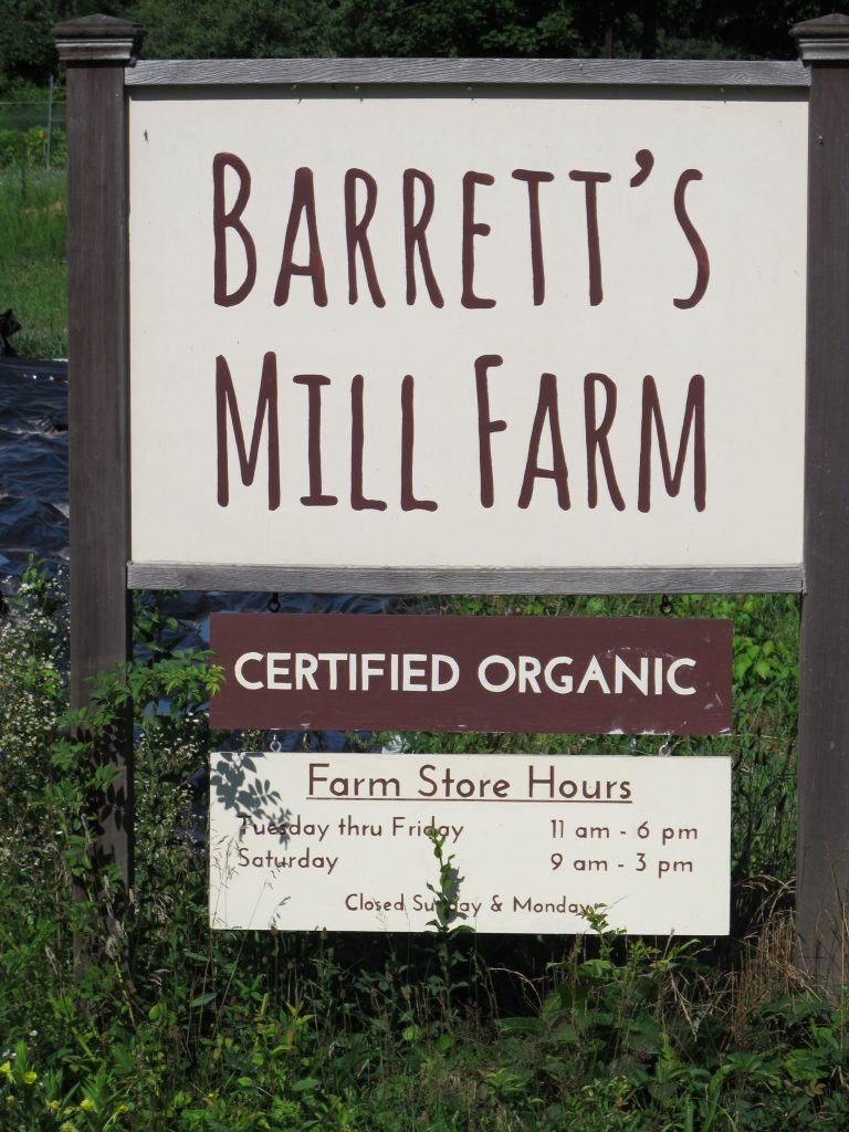 Barrett's Mill Farm sign
