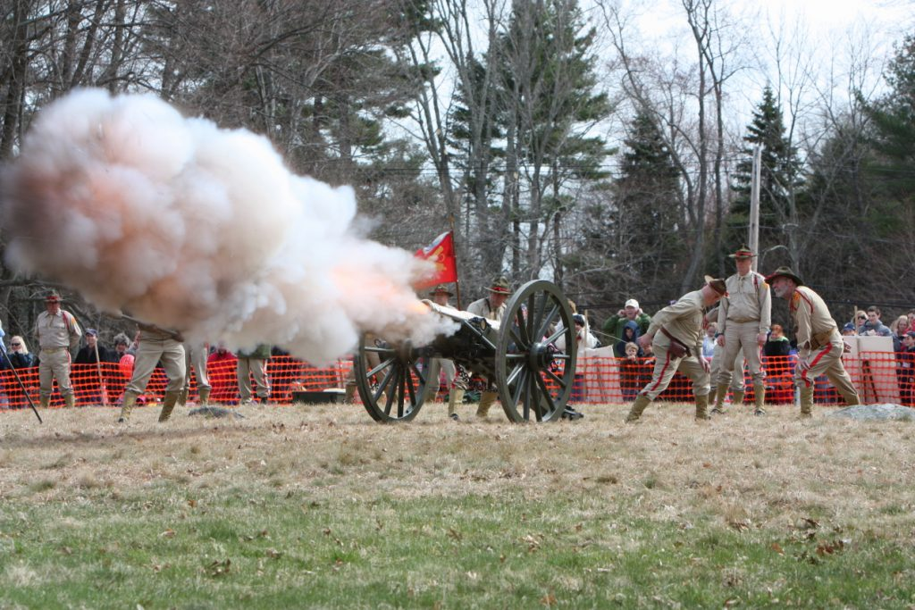 Brass cannon on Patriots Day