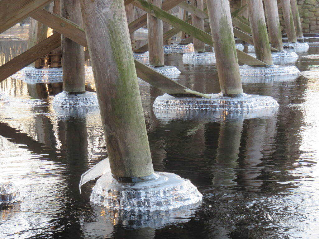 """Ice jewel """"collars"""" attached to the bridge supports."""