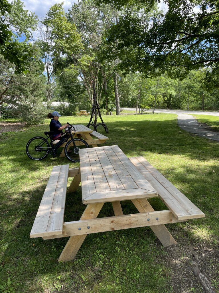 Picnic tables on Keyes Road